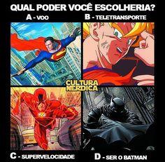' Escolha difícil hein?  ' #batman#Poderes #SuperPoder #Favorito #Voar #voo #flying #power #greenlantern #teletransporte #velocidade #supervelocidade #goku #dccomics #superman #flash #anime #manga #quadrinhos (Via: @culturanerdica)