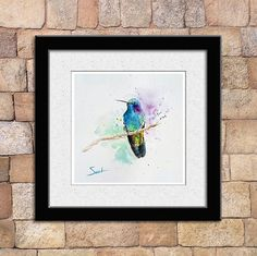 HUMMINGBIRD ART green hummingbird watercolor by SignedSweet