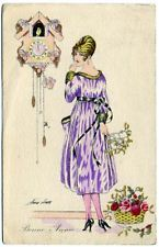 Post Card Xavier Sager Woman With Clock On Wall
