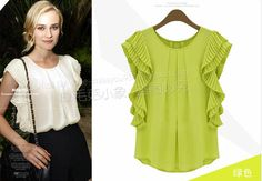 New 2014 Summer Fashion Fold Loose Short sleeve Flouncing Shirt Feifei sleeve Chiffon Shirt women blouses S M L XL XXL XXXL