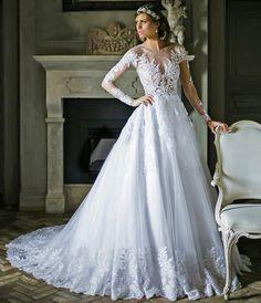 VN375 – Vestido de Noiva em Renda Efeito Illusion e saia Princesa Mais Lindo do Mundo