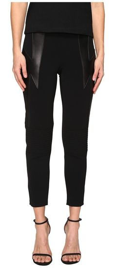 Neil Barrett Thunderbolt Cady Stretch + Nappa Plonge' (Black) Women's Casual Pants - Neil Barrett, Thunderbolt Cady Stretch + Nappa Plonge', PNPA374VH E081C, Apparel Bottom Casual Pants, Casual Pants, Bottom, Apparel, Clothes Clothing, Gift, - Street Fashion And Style Ideas