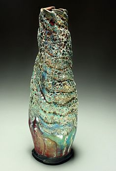 (New) Tall Ripple Raku Pottery Vase — Raku Pottery by Steven Forbes-deSoule Raku Pottery, Pottery Sculpture, Ceramic Clay, Ceramic Vase, Art Connection, Clay Art Projects, Coil Pots, Pottery Store, Native American Pottery