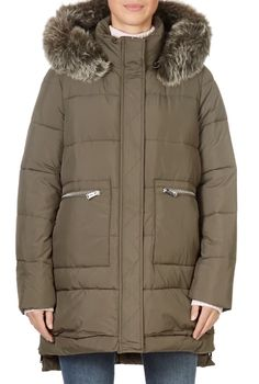 This is the stunning Khaki Green Puffer Coat With Fur from our friends at Pregio! A cosy piece with a central zip fastening, side pockets, and a detachable fur trim on the hood. This is the perfect piece to carry you into the colder season! Winter Coats Women, Winter Jackets, Puffer Coat With Fur, Green Shorts, Khaki Green, Fur Trim, Canada Goose Jackets, Shop Now, Cosy