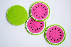 Items similar to Pink Watermelon Coasters, Set of four, Felt Handmade coasters for drinks, Cool mug rugs, Melon Coasters on Etsy Pink Watermelon Coasters Set of four Felt Handmade by LeTos Felt Diy, Felt Crafts, Diy And Crafts, Arts And Crafts, Sewing Crafts, Sewing Projects, Felt Fruit, Felt Coasters, Felt Embroidery