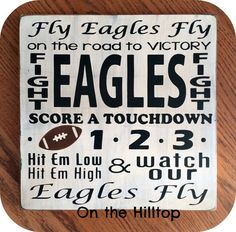 Eagles Fight Song Sign, Fly Eagles Fly Sign, Philadelphia Eagles Sign, Man Cave Sign, Football Sign, Gift for Dad by OntheHilltop on Etsy https://www.etsy.com/listing/212036109/eagles-fight-song-sign-fly-eagles-fly