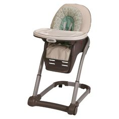 Graco® Blossom™ 4-in-1 High Chair Seating System. Best high chair ever, It reclines for bottle feeding, moves around easily but has a brake. Easy to clean. Item that grows with child and can be used for multiple children at once. So when first child grows to booster, new child can be in highchair.