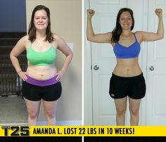 "Amanda L. lost 22 lbs in 10 weeks with Focus T25!    ""The time goes by so fast and it's super effective. I love my body and I am so much happier now! I've exceeded my goals and am in the best shape of my life!"""