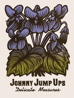Johnny Jump Ups ~ Martin Mazorra's Language of Flowers, Edible Flowers Series ~ Color Woodcut and Letterpress print, 18 x 24 inch, French's 100 lb. Cover, Insulation Pink. Handcut, Handprinted with moveable type. Edition of 20.