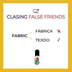 "Cuidado! No te confundas! Fabric  es el material que se usa para hacer ropa  ...""Wash delicate fabrics by hand"".  Y fábrica? Sabes como se dice en inglés?...   ...   #falsefriends #englishlessons #englishteaching #IELTS #estudiaringles Learn English, English English, False Friends, Spanish Language Learning, Idioms, Vocabulary, Study, Ielts, Words"