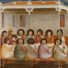 Giotto di Bondone - The Last Supper Renaissance Artists, Renaissance Paintings, Italian Renaissance, Fresco, San Josemaria, Antonio Gaudi, Blood Art, Italian Paintings, Late Middle Ages