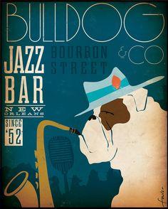 Bulldog Jazz Bar original graphic illustration on by geministudio, $95.00