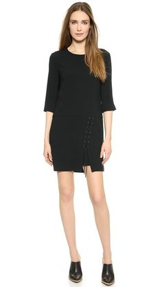 30% off Tibi - Crepe Laced Front Sheath Dress Black - $255.50