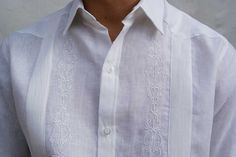 Embroidered in White Guayabera Mens Beach Wedding Attire, Wedding Men, Guayabera Wedding, Guayabera Shirt, Tropical Outfit, Custom Made Clothing, Wedding Linens, Beige Background, White Embroidery