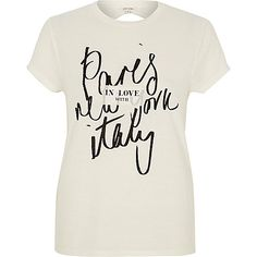 Cream Paris print open back t-shirt - print t-shirts / vests - t shirts / vests - women