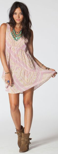 Pretty 'Lay It Back' dress by Billabong. Love the turquoise jewels & ankle boots too.