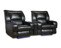 Sleek and elegant, the Roxie Home Theater recliner fits well among today's lifestyle room settings. Padded-track design element begins midway up one arm then continues around to frame the bustle back cushions, then returns down the opposite arm. The Roxie would stand regally alone or more dramatically in rows. Be sure to note the seven color capable LED system in BOTH cup holders as well as floor illumination.