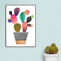 Latitude Run 'Happy Cactus' Framed Graphic Art Print Southwest Bedroom, Run Happy, More Fun, Giclee Print, Picture Frames, Graphic Art, Decorative Pillows, Contemporary Art, Cactus