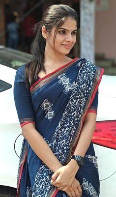 Cotton Saree Elegant Indian Sari CLICK Visit link above for more options Saris, Indigo Saree, Cotton Saree Designs, Simple Sarees, Saree Trends, Casual Saree, Formal Saree, Saree Models, Stylish Sarees