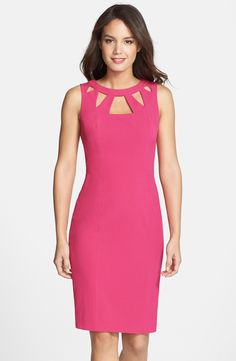 I just bought this dress and wanted to share it because it is a great silhouette for me--at or right above the knee with a little stretch. Cutout neckline draws the eye upward.
