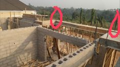"""The Making Of The """"Anambra 5 Bedroom Duplex"""" - Properties - Nigeria Concrete Block Foundation, House Plans With Photos, Model House Plan, Duplex House Design, Living Room Windows, Block Wall, Iron Work, Village Houses, Round House"""