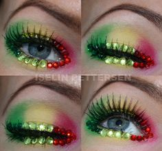 Colorful green, yellow and red bejeweled eyes by Iselin Pettersen.
