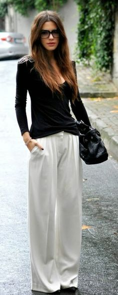 White Palazzo Pant with Black Long Sleeve Blouse |...
