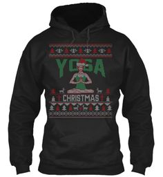 Yoga Christmas Sweater Hoodie Black Sweatshirt Front
