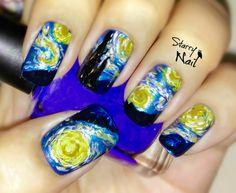Vincent van Gogh Starry Night Nail Art  TUTORIAL #nail #nails #NailArt #NailPolish #NailDesign #NailTutorial #NailArtTutorial #Tutorial #Art  #starrynight