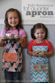kids reversible fat quarter apron tutorial