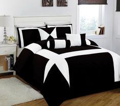 11 Piece King Jefferson Black and White Bed in a Bag w/600TC Cotton Sheet Set:Amazon:Home & Kitchen
