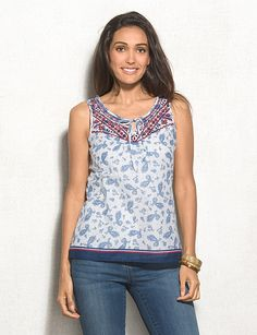Embroidered Paisley Print Tank Top