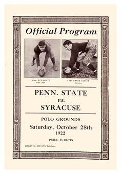 1922 Penn State Nittany Lions vs Syracuse Orange 22 x 30 Canvas Historic Football Print