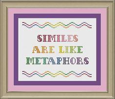 Similes are like metaphors funny by nerdylittlestitcher on Etsy, $3.00