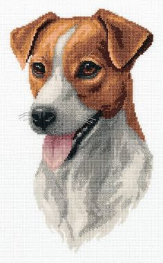 New Unopened Modern Cross Stitch Hand Embroidery, DIY Kit Embroidery Puppy Print, Cute Dog Jack Russ Cross Stitch Fabric, Cross Stitching, Cross Stitch Embroidery, Hand Embroidery, Modern Cross Stitch, Cross Stitch Designs, Cross Stitch Patterns, Loom Patterns, Jack Russell Dogs