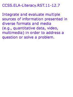 CCSS.ELA-Literacy.RST.11-12.7  Text from:  http://www.corestandards.org/ELA-Literacy/RST/11-12/