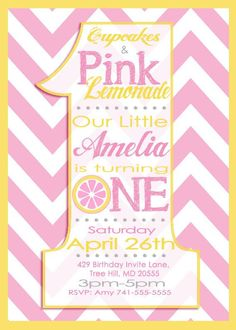 Hey, I found this really awesome Etsy listing at https://www.etsy.com/listing/184650654/first-birthday-pink-lemonade-invitation