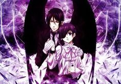 Brunettes Wings Eyepatch Feathers Kuroshitsuji Ciel Phantomhive Sebastian Michaelis Collar Anime Boys Chains Lightning Wallpaper