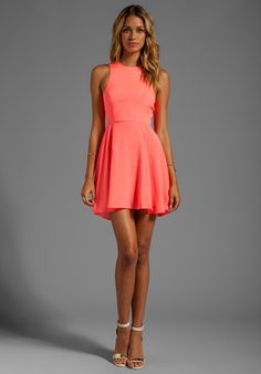 NAVEN EXCLUSIVE Jackie Circle Skirt Dress in Neon Coral at Revolve Clothing - Free Shipping!
