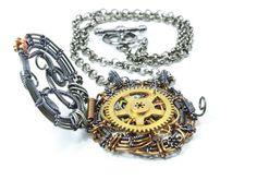 Steampunk Jewelry, Steampunk Locket, Steampunk Necklace, Steampunk Gear, Victorian Jewelry, Wire Wrapped Jewelry, Victorian Necklace. $145.00, via Etsy.
