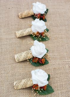 Wine cork with choice flower boutonniere's by TheVintagePerch, $6.00 - Buy it now @ www.etsy.com/shop/thevintageperch