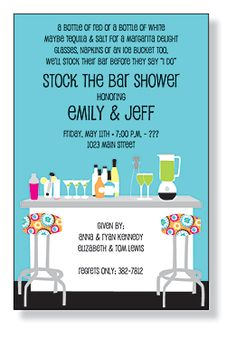 Stock the Bar - Maybe instead of a bridal shower. Maybe a good shower with the guys and girls! A good way to get the bar stocked if you guys are going to provide the alcohol :)