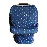 #9: Premium Baby Car Seat Cover Canopy with Fresh New Blue Arrow Design Pattern. Breathable 95% Bamboo Rayon Fabric with 5% Spandex for Perfect Stretch. For Car Seat High Chair Nursing Cover