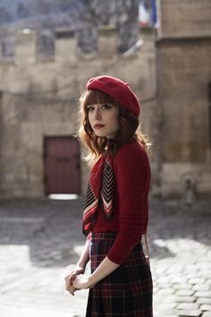 beret, scarf, red