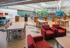 Create an inviting, fun school library with education solutions from KI! Crossroads library furniture and Tea Cup lounge chairs provide comfortable areas for students to read and study.