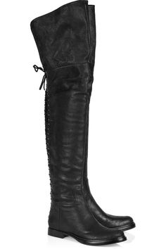 Thigh High Black Leather Riding Boots.
