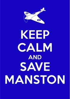 Save Manston Airport, Kent. Keep Calm - Blue