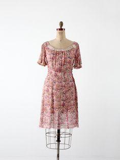 vintage 30s floral dress - 86 Vintage