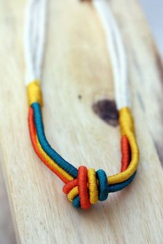 Rope Knot Necklace  Green Orange Yellow by diamentdesigns on Etsy