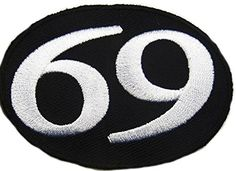 """[Single Count] Custom and Unique (2.25"""" x 3.75"""" Inches) Rounded Oval Numerical Number Sixty Nine Text Biker Iron On Embroidered Applique Patch {Black & White Colors} mySimple Products"""